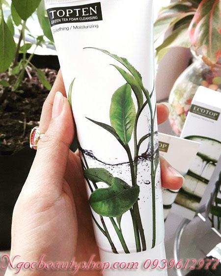 Sữa rửa mặt dưỡng trắng da ngừa mụn chiết xuất trà xanh TOPTEN Green Tea Foam Cleansing 120ml - ecotop.greentea